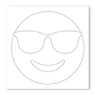 Emoji One COLORING Wall Graphic: Square Smiling Face With Sunglasses