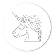 Emoji One COLORING Wall Graphic: Circle Unicorn Face