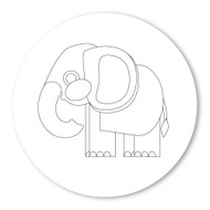 Emoji One COLORING Wall Graphic: Circle Elephant