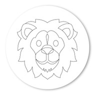 Emoji One COLORING Wall Graphic: Circle Lion Face