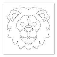 Emoji One COLORING Wall Graphic: Square Lion Face