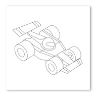 Emoji One COLORING Wall Graphic: Square Racing Car