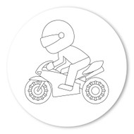 Emoji One COLORING Wall Graphic: Circle Racing Motorcycle
