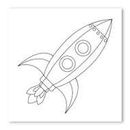 Emoji One COLORING Wall Graphic: Square Rocket