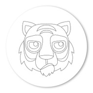 Emoji One COLORING Wall Graphic: Circle Tiger Face