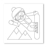 Emoji One COLORING Wall Graphic: Square Snowboarder