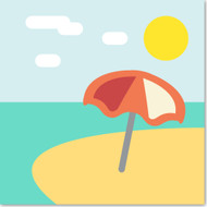 Emoji One Travel & Places Wall Icon: Beach With Umbrella