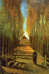 Autumn Tree Lined Lane Leading To Farm House by Van Gogh