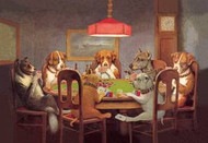 Passing The Ace Under The Table (Dogs Playing Poker)