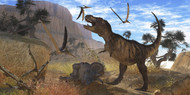 Tyrannosaurus Rex Attempts To Eat His Triceratops Kill While Pteranodons Harass Him