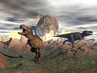 Tyrannosaurus Rex Dinosaurs Escaping A Big Meteorite Crash II