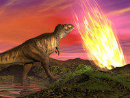 Tyrannosaurus Rex Observes A Meteorite Crashing Into Earth