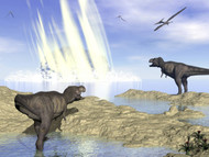 Tyrannosaurus Rex And Pteranodons Watch A Meteorite Impact