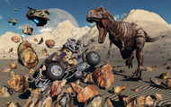A Team Of Time Travelling Explorers Try To Capture A T Rex Dinosaur