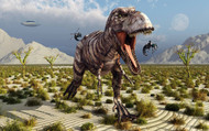 Insectoid Drones Attack A Frustrated Tyrannosaurus Rex