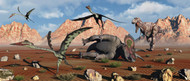 Quetzalcoatlus Flee As A Tyrannosaurus Rex Comes To Claim Its Meal