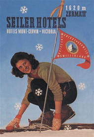 Seiler Hotel: Woman Adjusting Skis