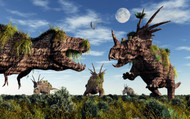 Styracosaurus And Tyrannosaurus Rex Dinosaur Sculptures