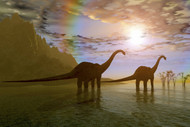 Two Diplodocus Dinosaurs Wade Through Shallow Water To Eat Some Vegetation