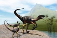 Velociraptor Offspring Beg Mother Dinosaur For Food Near A Pond