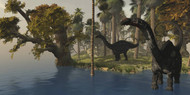 Two Apatosaurus Dinosaurs Visit An Island In Prehistoric Times