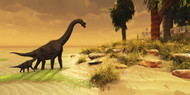 A Mother Brachiosaurus Dinosaur And Her Offspring