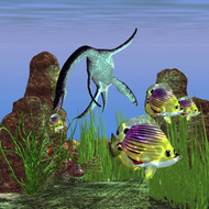 Angelfish Try To Swim Out Of The Reach Of A Plesiosaurus Dinosaur