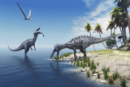 Suchomimus Dinosaurs Feed On Fish On The Shoreline