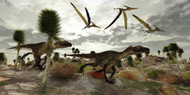 Two Utahraptors Hunt For Prey As Pterosaurs Fly Above