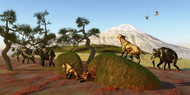A Family Of Saber Toothed Tigers Watch A Herd Of Woolly Mammoths