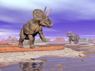 Two Nedoceratops Next To Water In A Colorful Rocky Landscape