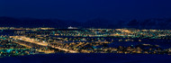 High Angle View of City Lit Up at Night, Reykjavik, Iceland
