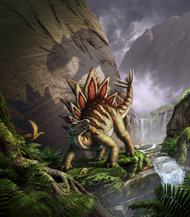 A Stegosaurus Is Surprised By An Allosarous While Feeding In A Lush Gorge