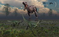 Two Lesothosaurus Dinosaurs Run Out Of The Way Of A T-Rex On A Rampage