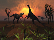 T. Rex Confronts A Group Of Camarasaurus Dinosaur