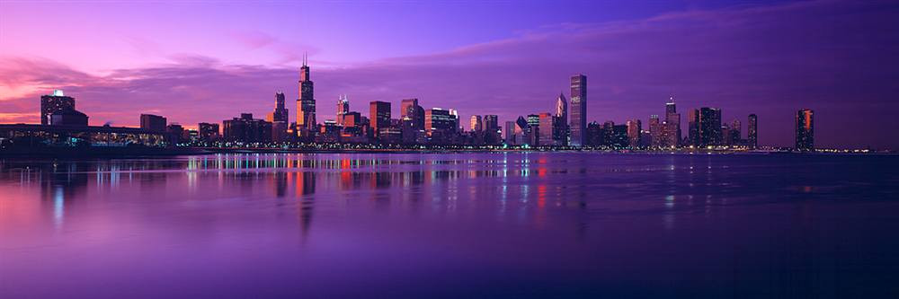 Chicago Skyline From Lake Michigan Walls 360