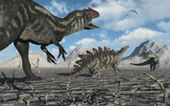 Allosaurus Dinosaurs Moving In To Kill A Stegosaurus Trapped In A Mud Pit