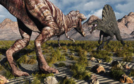 A Confrontation between a T. Rex and a Spinosaurus Dinosaur I
