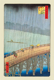 Great Bridge, Sudden Shower at Atake by Hiroshige