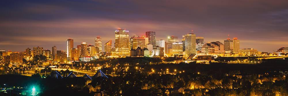 Panoramic View Edmonton At Night