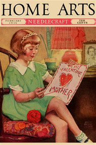 Little Girl Sews a Valentine