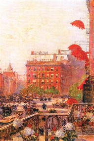 Broadway and Fifth Avenue by Hassam