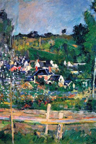 Village Behind the Fence by Cezanne