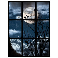 Window Views 3 Crows In Moonlight