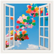 Window Views Balloons Floating in the Sky