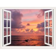 Window Views Sunset Over The Sea