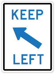 Keep Left Blue Wall Graphic