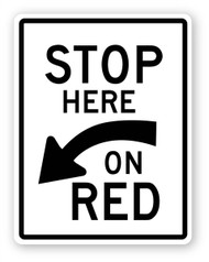 Stop Here On Red Wall Graphic