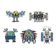 Doodle Jump Robot Monsters Special Set of 5 Wall Graphics (12 inch)