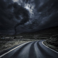 Tornado Near A Winding Road In The Mountains Crete Greece